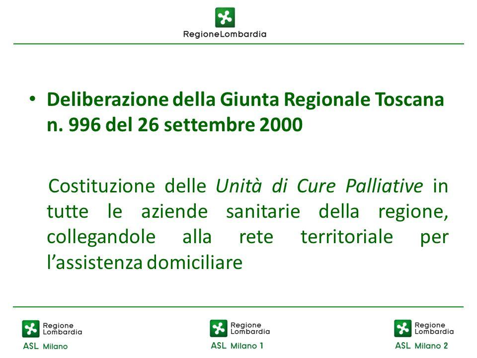 Deliberazione della Giunta Regionale Toscana n. 996 del 26 settembre 2000 Costituzione delle Unità di Cure Palliative in tutte le aziende sanitarie de