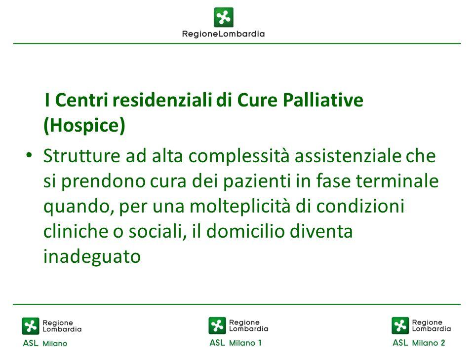 I Centri residenziali di Cure Palliative (Hospice) Strutture ad alta complessità assistenziale che si prendono cura dei pazienti in fase terminale qua