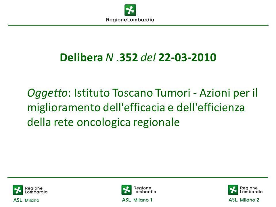 Delibera N.352 del 22-03-2010 Oggetto: Istituto Toscano Tumori - Azioni per il miglioramento dell'efficacia e dell'efficienza della rete oncologica re