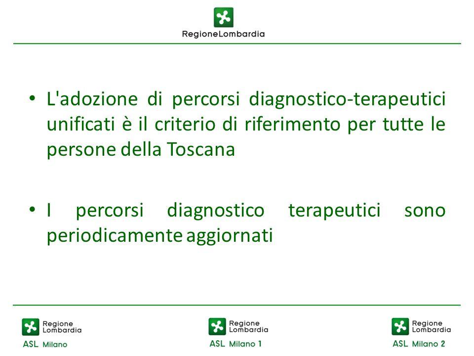 L'adozione di percorsi diagnostico-terapeutici unificati è il criterio di riferimento per tutte le persone della Toscana I percorsi diagnostico terape
