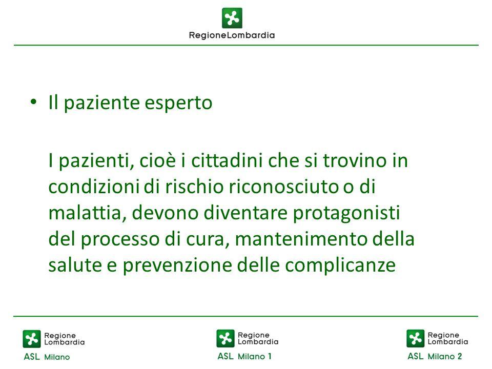 Il paziente esperto I pazienti, cioè i cittadini che si trovino in condizioni di rischio riconosciuto o di malattia, devono diventare protagonisti del