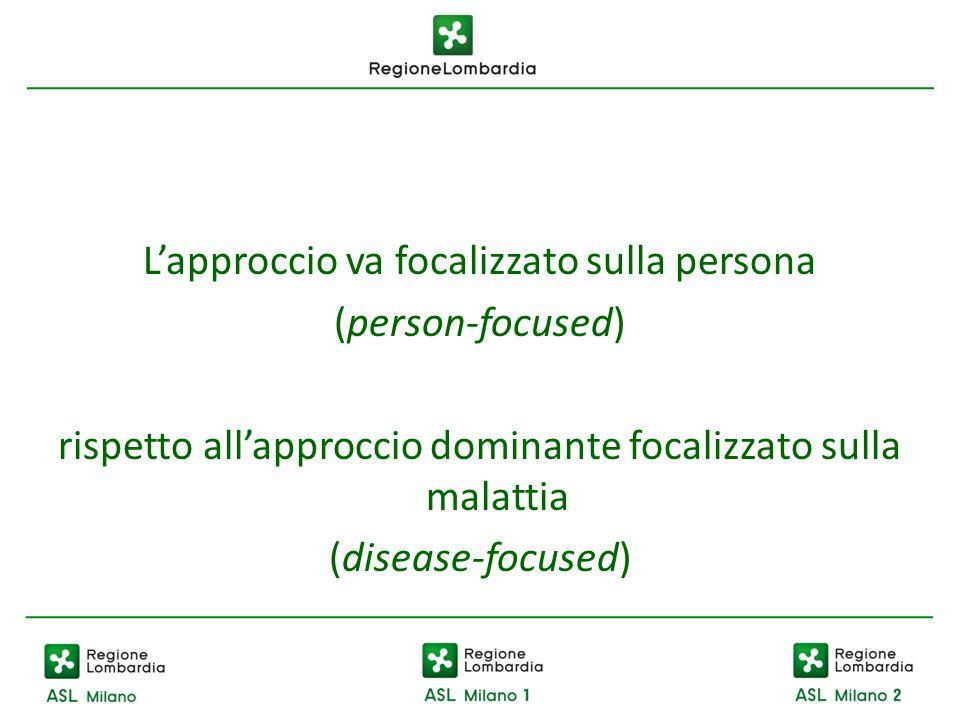 Lapproccio va focalizzato sulla persona (person-focused) rispetto allapproccio dominante focalizzato sulla malattia (disease-focused)