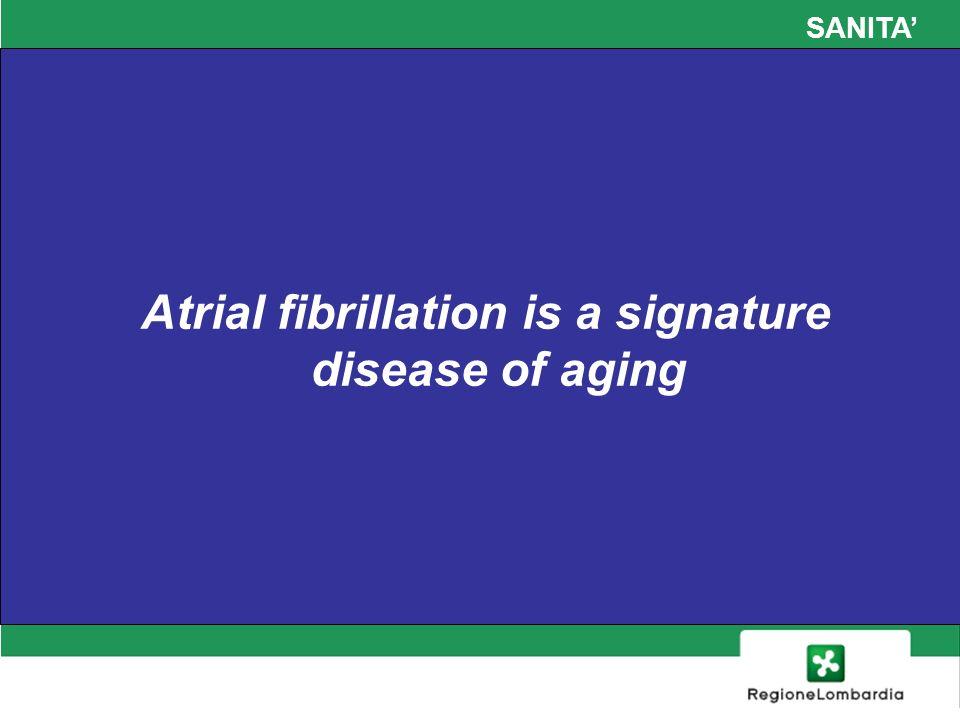 SANITA FA e rischio di ictus negli anziani Tra i pazienti con età compresa fra 80 e 89 anni, il 36% degli ictus avviene in presenza di FA Negli ultraottantenni il rischio annuo di ictus è compreso tra il 3% e l8% in relazione ai fattori di rischio associati: diabete, ipertensione, storia di ictus/TIA Circulation 2011 ACCF/AHA/HRS Focused Updates Guidelines for the Management of Patients With AF