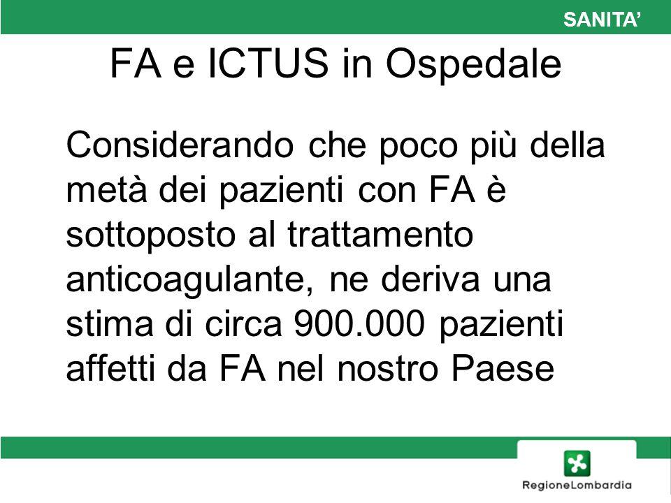 SANITA FA e ICTUS in Ospedale Considerando che poco più della metà dei pazienti con FA è sottoposto al trattamento anticoagulante, ne deriva una stima