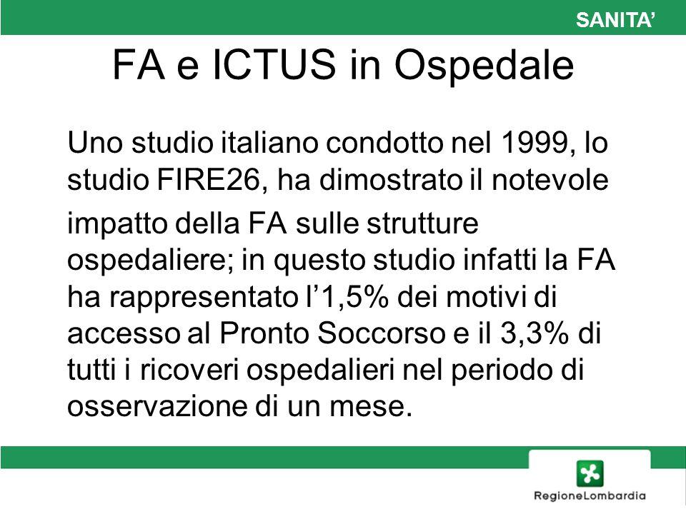 SANITA FA e ICTUS in Ospedale Uno studio italiano condotto nel 1999, lo studio FIRE26, ha dimostrato il notevole impatto della FA sulle strutture ospe