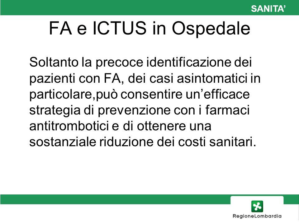 SANITA FA e ICTUS in Ospedale Soltanto la precoce identificazione dei pazienti con FA, dei casi asintomatici in particolare,può consentire unefficace