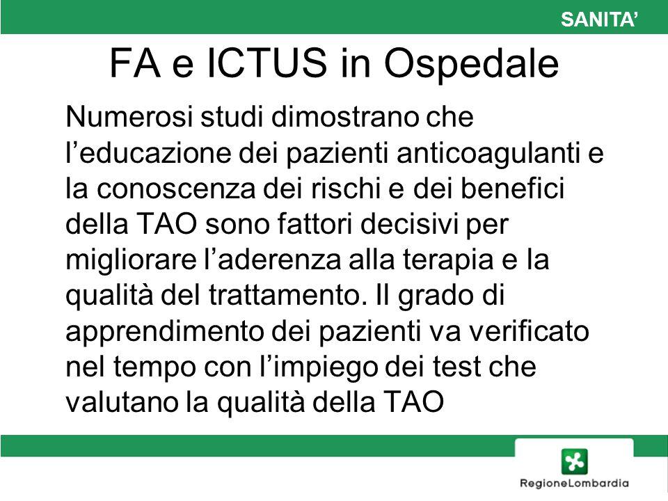 SANITA FA e ICTUS in Ospedale Numerosi studi dimostrano che leducazione dei pazienti anticoagulanti e la conoscenza dei rischi e dei benefici della TA