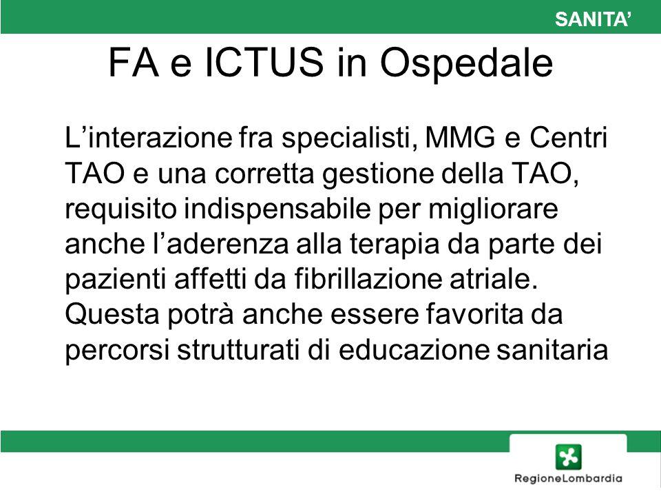 SANITA FA e ICTUS in Ospedale Linterazione fra specialisti, MMG e Centri TAO e una corretta gestione della TAO, requisito indispensabile per migliorar