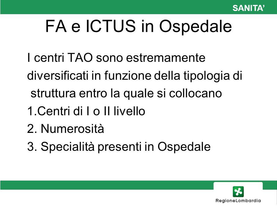 SANITA FA e ICTUS in Ospedale I centri TAO sono estremamente diversificati in funzione della tipologia di struttura entro la quale si collocano 1.Cent