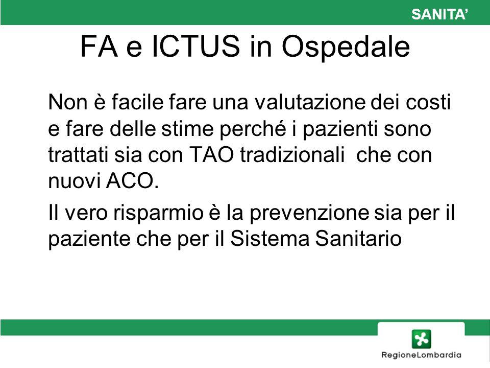 SANITA FA e ICTUS in Ospedale Non è facile fare una valutazione dei costi e fare delle stime perché i pazienti sono trattati sia con TAO tradizionali