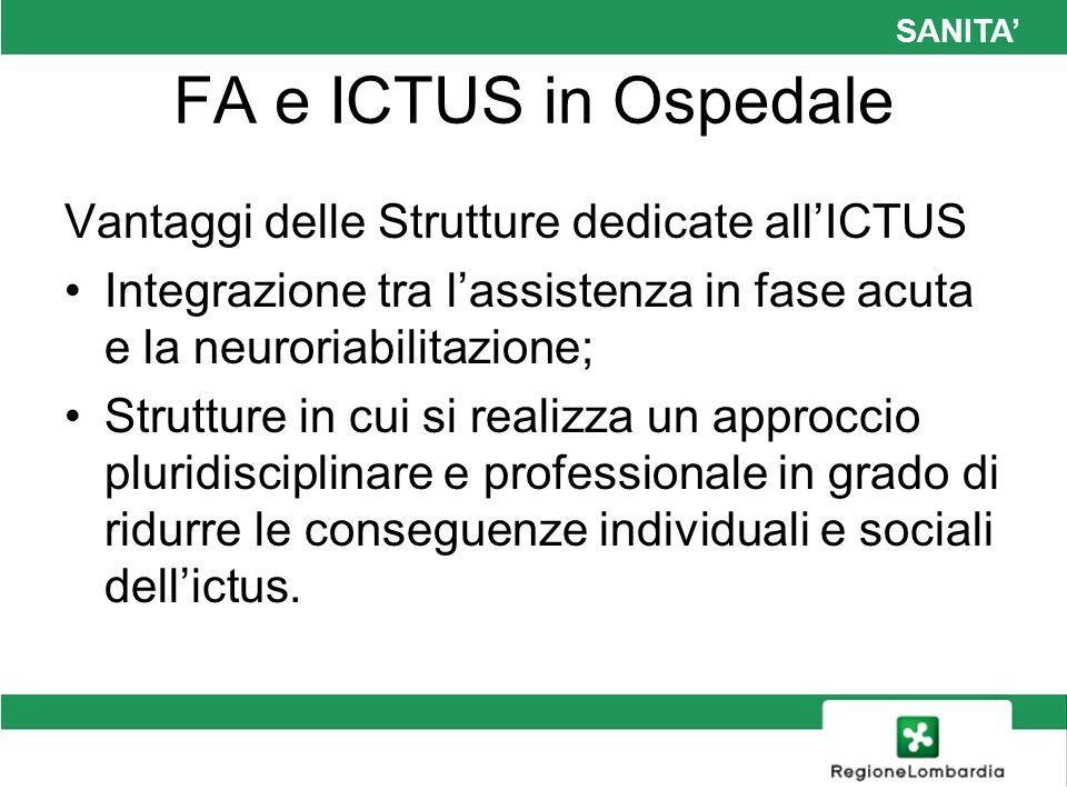 SANITA FA e ICTUS in Ospedale Vantaggi delle Strutture dedicate allICTUS Integrazione tra lassistenza in fase acuta e la neuroriabilitazione; Struttur