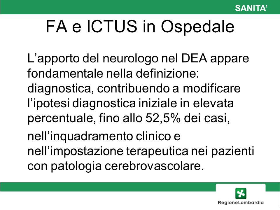 SANITA FA e ICTUS in Ospedale Lapporto del neurologo nel DEA appare fondamentale nella definizione: diagnostica, contribuendo a modificare lipotesi di