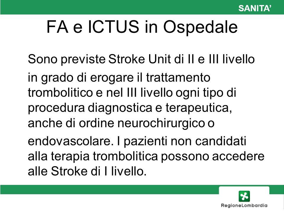 SANITA FA e ICTUS in Ospedale Sono previste Stroke Unit di II e III livello in grado di erogare il trattamento trombolitico e nel III livello ogni tip
