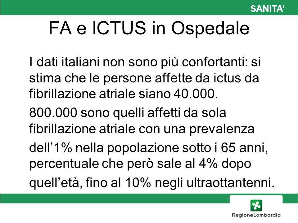 SANITA FA e ICTUS in Ospedale I dati italiani non sono più confortanti: si stima che le persone affette da ictus da fibrillazione atriale siano 40.000