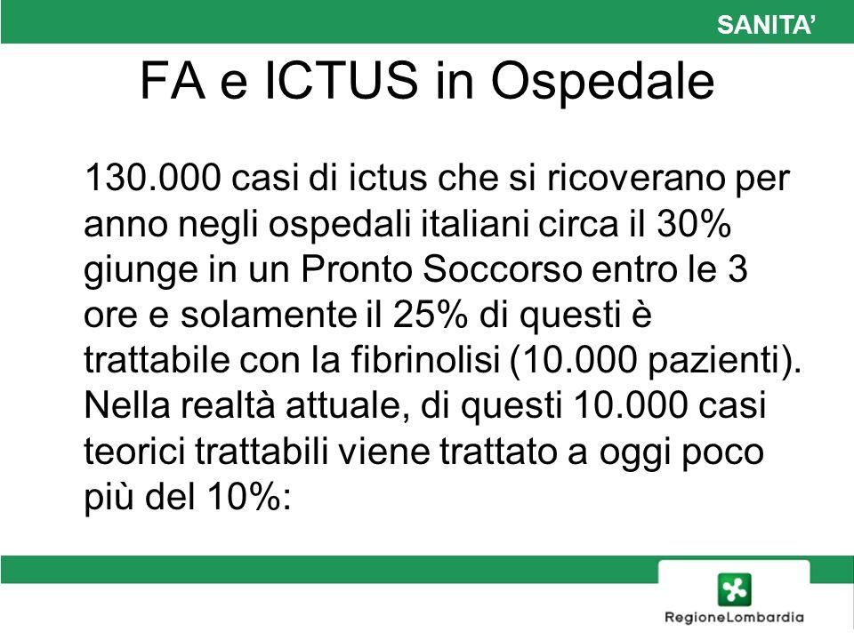 SANITA FA e ICTUS in Ospedale 130.000 casi di ictus che si ricoverano per anno negli ospedali italiani circa il 30% giunge in un Pronto Soccorso entro