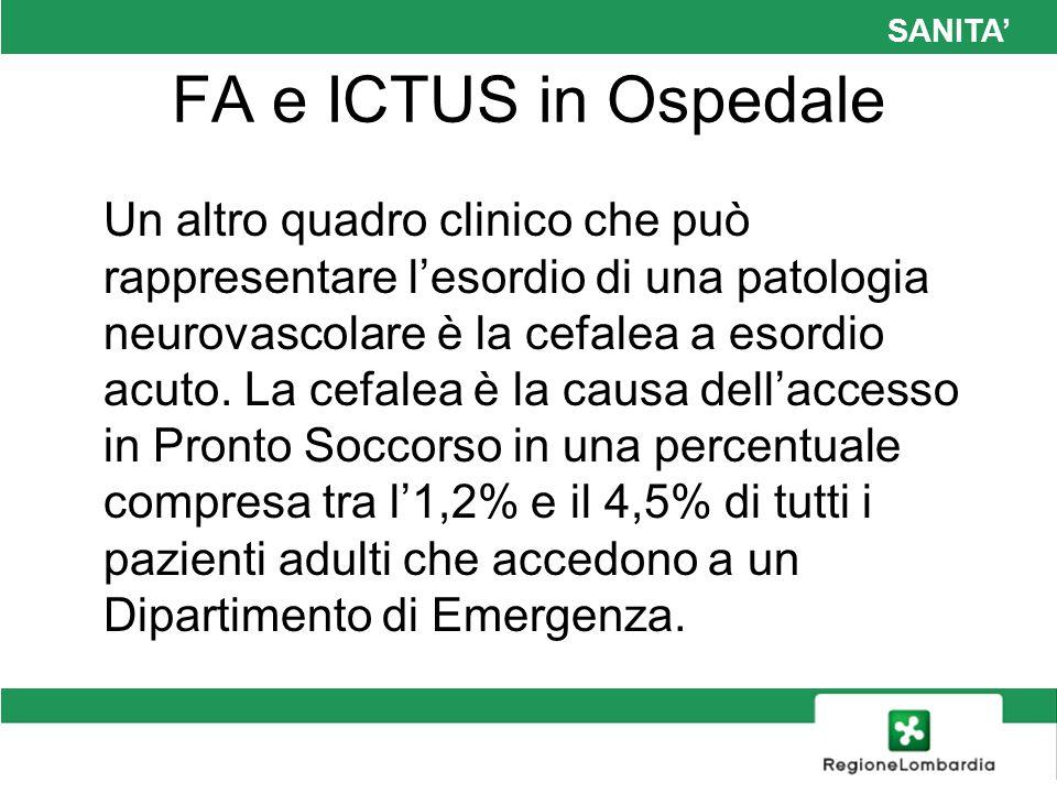 SANITA FA e ICTUS in Ospedale Un altro quadro clinico che può rappresentare lesordio di una patologia neurovascolare è la cefalea a esordio acuto. La