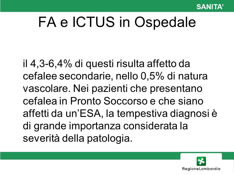 SANITA FA e ICTUS in Ospedale il 4,3-6,4% di questi risulta affetto da cefalee secondarie, nello 0,5% di natura vascolare. Nei pazienti che presentano