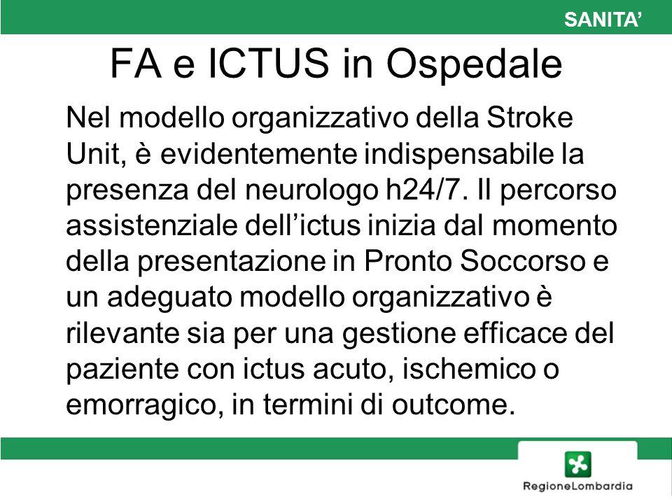 SANITA FA e ICTUS in Ospedale Nel modello organizzativo della Stroke Unit, è evidentemente indispensabile la presenza del neurologo h24/7. Il percorso