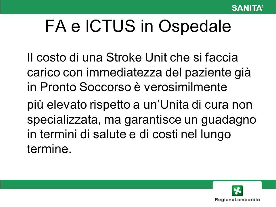 SANITA FA e ICTUS in Ospedale Il costo di una Stroke Unit che si faccia carico con immediatezza del paziente già in Pronto Soccorso è verosimilmente p