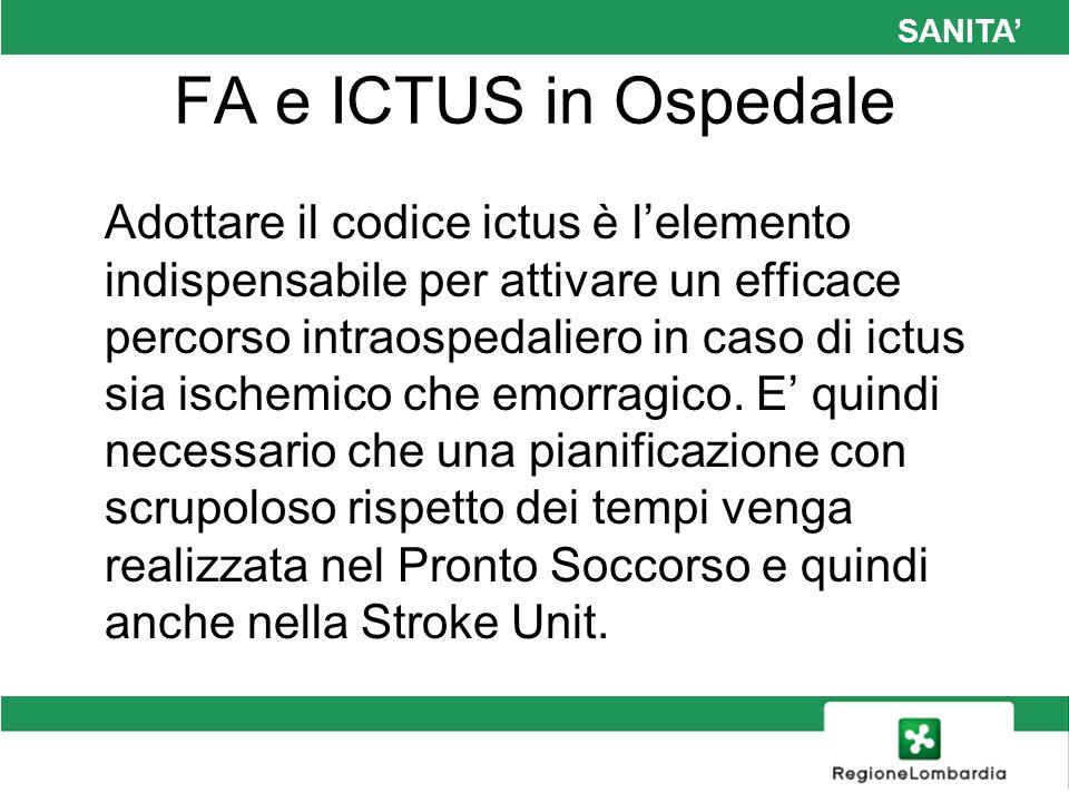 SANITA FA e ICTUS in Ospedale Adottare il codice ictus è lelemento indispensabile per attivare un efficace percorso intraospedaliero in caso di ictus