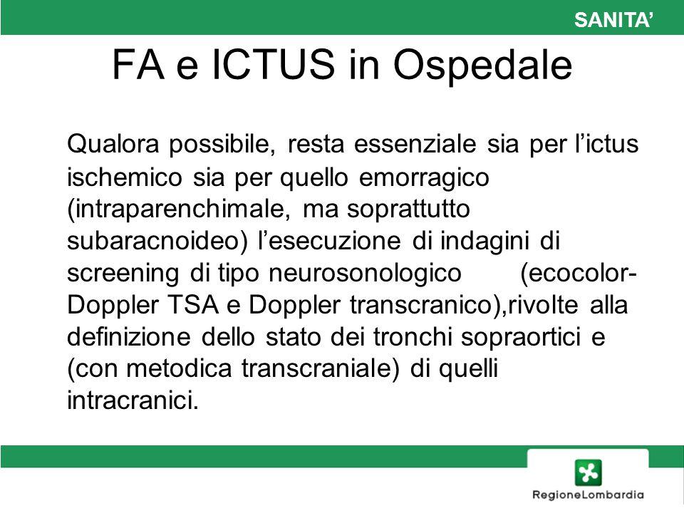 SANITA FA e ICTUS in Ospedale Qualora possibile, resta essenziale sia per lictus ischemico sia per quello emorragico (intraparenchimale, ma soprattutt