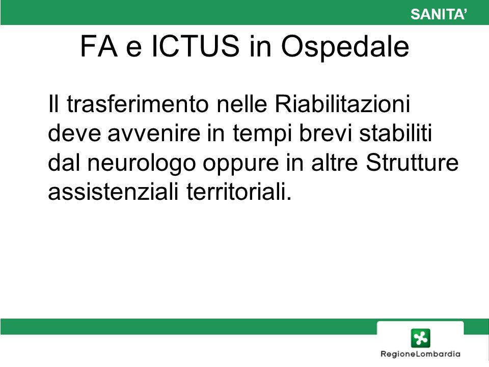 SANITA FA e ICTUS in Ospedale Il trasferimento nelle Riabilitazioni deve avvenire in tempi brevi stabiliti dal neurologo oppure in altre Strutture ass