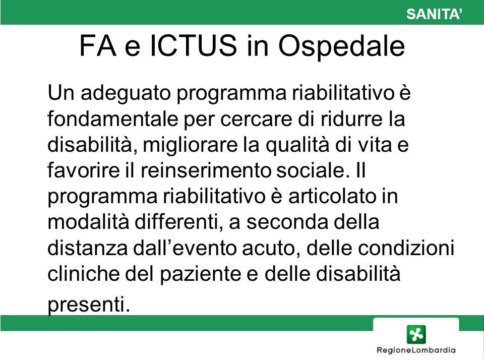 SANITA FA e ICTUS in Ospedale Un adeguato programma riabilitativo è fondamentale per cercare di ridurre la disabilità, migliorare la qualità di vita e