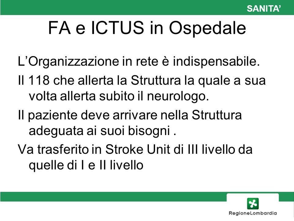 SANITA FA e ICTUS in Ospedale LOrganizzazione in rete è indispensabile. Il 118 che allerta la Struttura la quale a sua volta allerta subito il neurolo