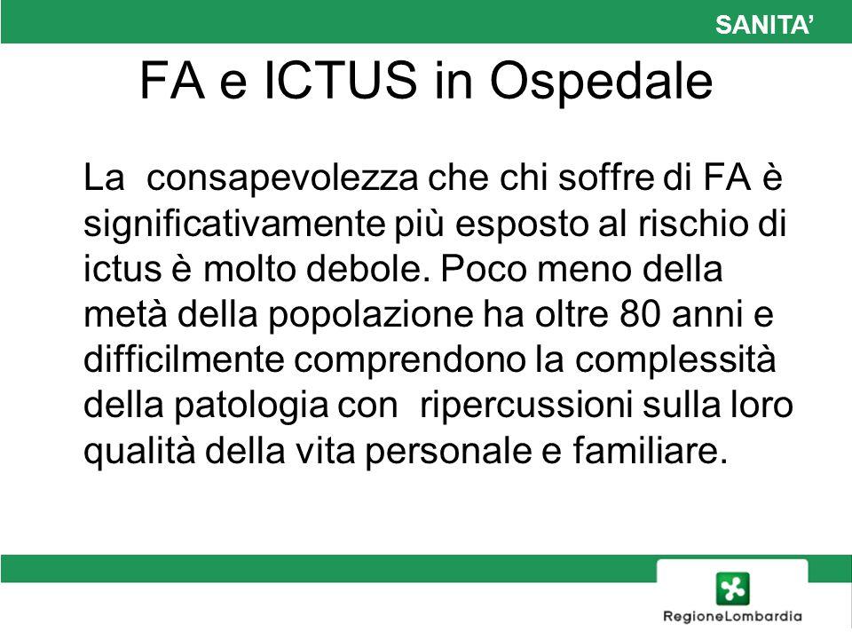 SANITA FA e ICTUS in Ospedale La consapevolezza che chi soffre di FA è significativamente più esposto al rischio di ictus è molto debole. Poco meno de