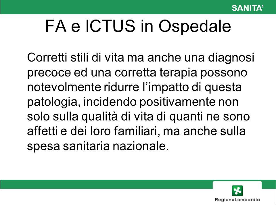 SANITA FA e ICTUS in Ospedale Dati provenienti dalla FCSA (federazione centri sorveglianza anticoagulanti) stimano che in Italia circa 1 milione di pazienti sia sottoposto a trattamento con anticoagulanti orali (circa il 20% seguiti presso i Centri TAO della FCSA); di questi circa la metà ricevono la TAO per la FA.