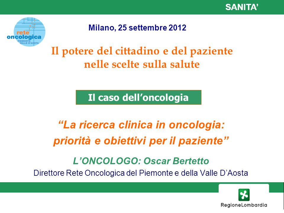 1 La ricerca clinica in oncologia: priorità e obiettivi per il paziente LONCOLOGO: Oscar Bertetto Direttore Rete Oncologica del Piemonte e della Valle