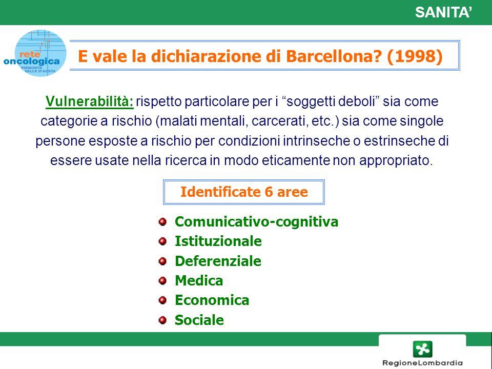 16 E vale la dichiarazione di Barcellona? (1998) Vulnerabilità: rispetto particolare per i soggetti deboli sia come categorie a rischio (malati mental