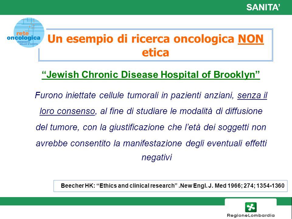 17 Un esempio di ricerca oncologica NON etica Jewish Chronic Disease Hospital of Brooklyn Furono iniettate cellule tumorali in pazienti anziani, senza