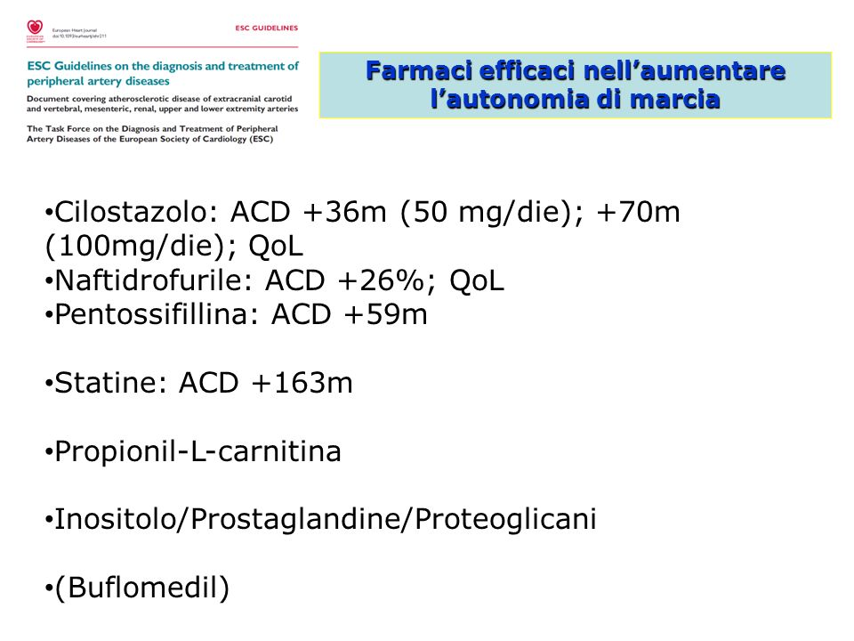 Farmaci efficaci nellaumentare lautonomia di marcia Cilostazolo: ACD +36m (50 mg/die); +70m (100mg/die); QoL Naftidrofurile: ACD +26%; QoL Pentossifil