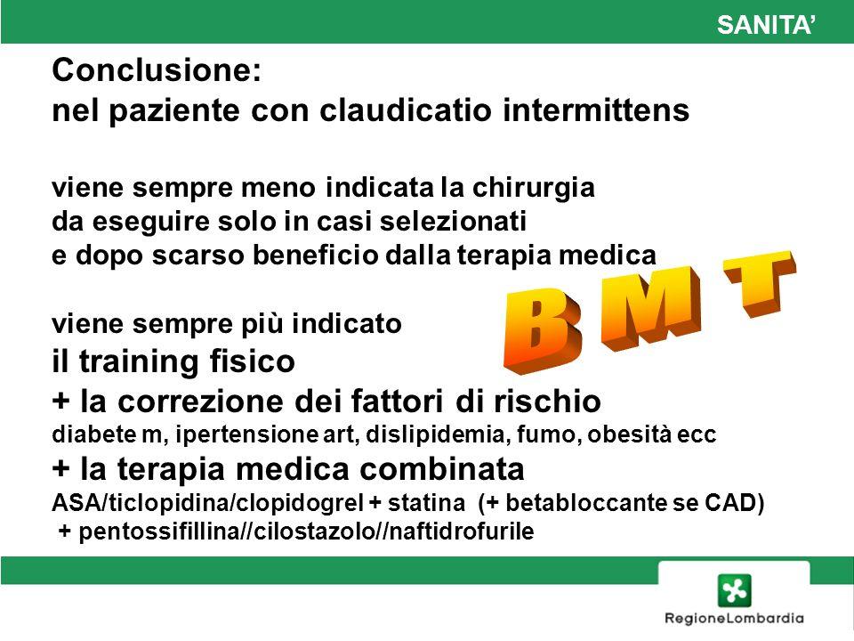 SANITA Conclusione: nel paziente con claudicatio intermittens viene sempre meno indicata la chirurgia da eseguire solo in casi selezionati e dopo scar