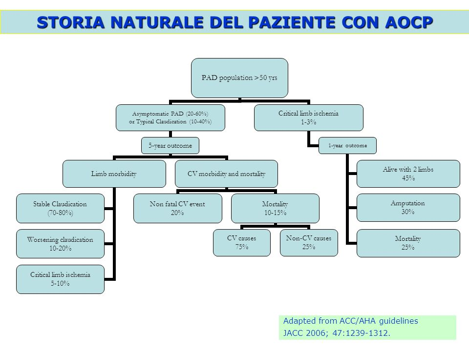 STORIA NATURALE DEL PAZIENTE CON AOCP PAD population >50 yrs Asymptomatic PAD (20-60%) or Typical Claudication (10-40%) 5-year outcome Limb morbidity
