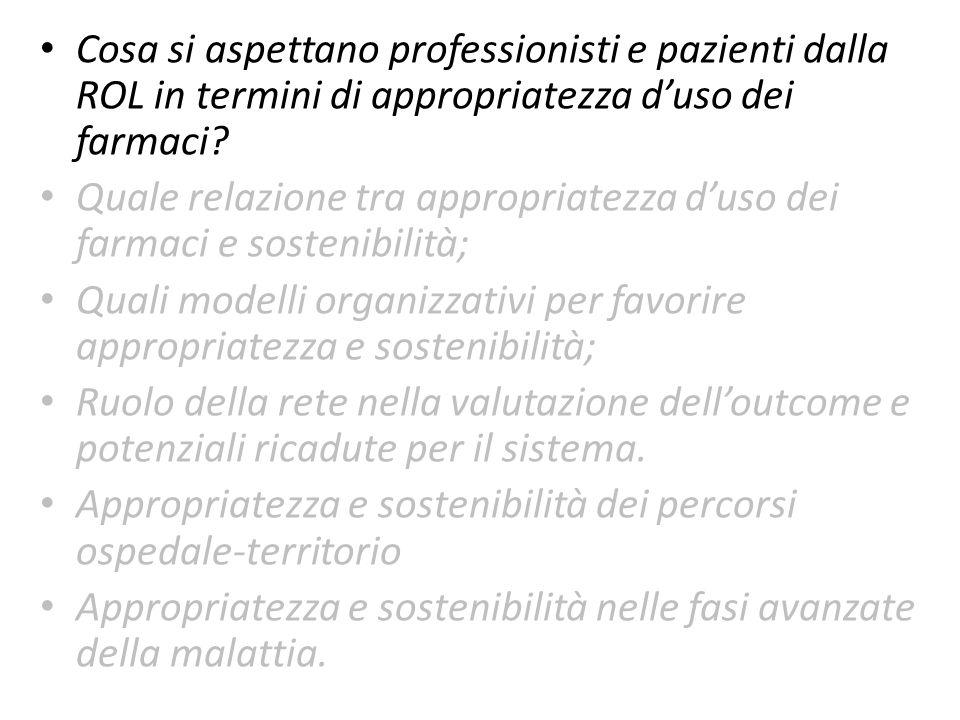 Cosa si aspettano professionisti e pazienti dalla ROL in termini di appropriatezza duso dei farmaci? Quale relazione tra appropriatezza duso dei farma