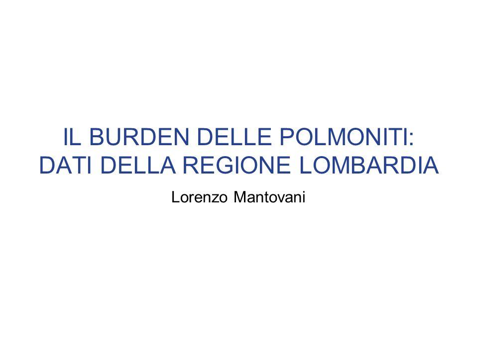 IL BURDEN DELLE POLMONITI: DATI DELLA REGIONE LOMBARDIA Lorenzo Mantovani