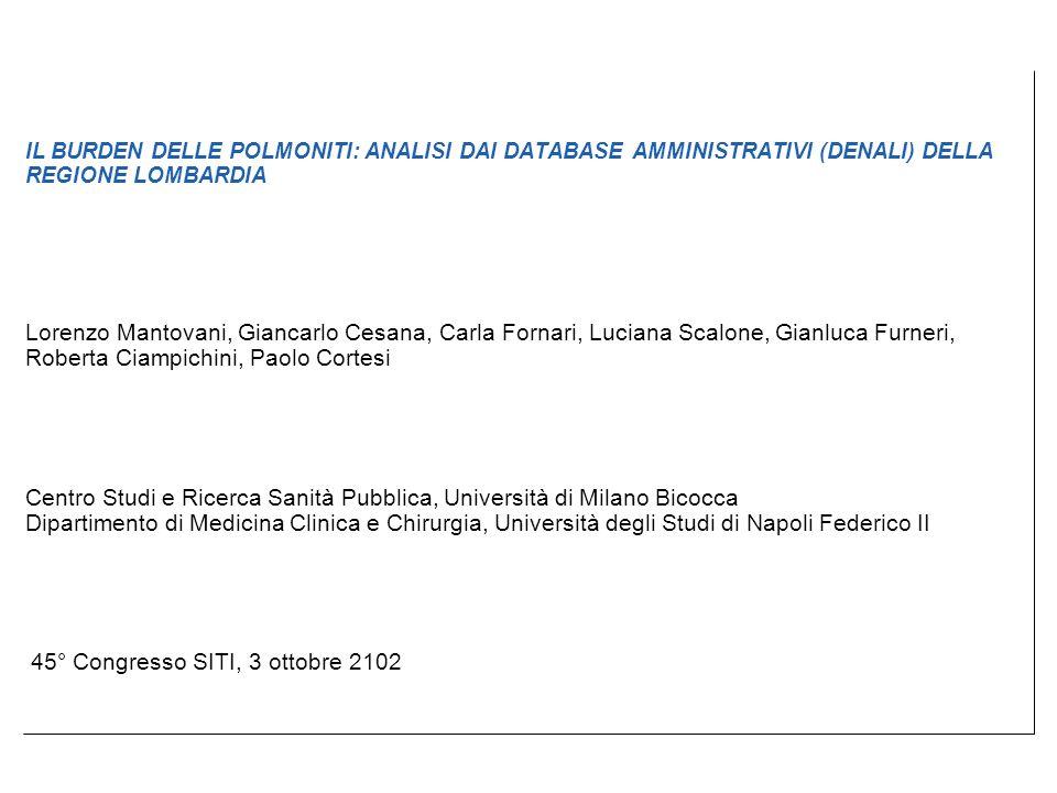 45° Congresso SITI, 3 ottobre 2102 IL BURDEN DELLE POLMONITI: ANALISI DAI DATABASE AMMINISTRATIVI (DENALI) DELLA REGIONE LOMBARDIA Lorenzo Mantovani,