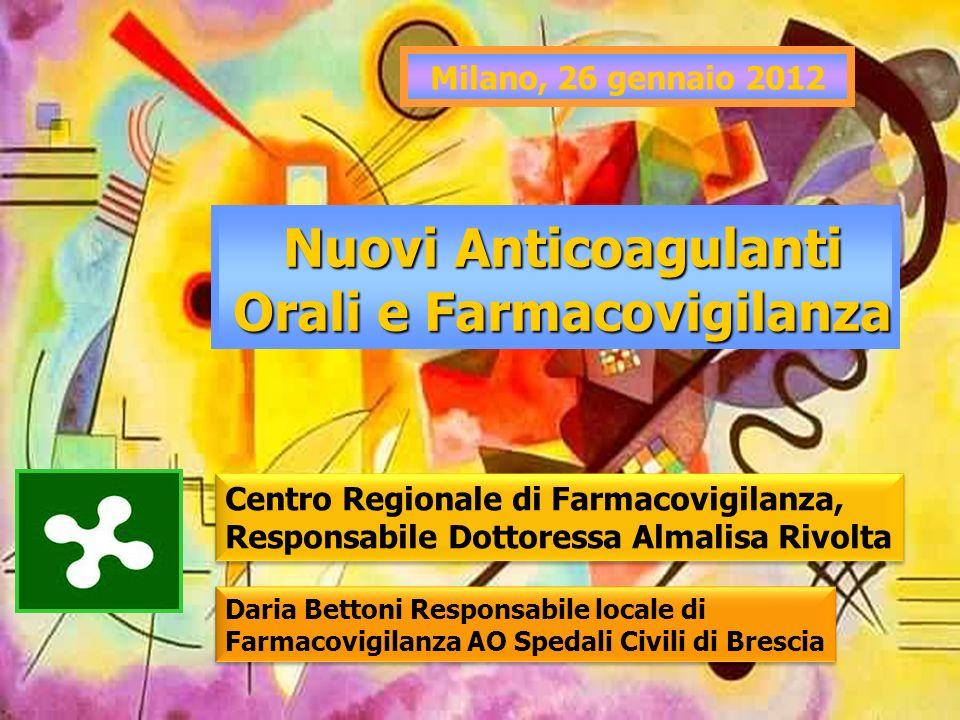 Nuovi Anticoagulanti Orali e Farmacovigilanza Milano, 26 gennaio 2012 Centro Regionale di Farmacovigilanza, Responsabile Dottoressa Almalisa Rivolta D