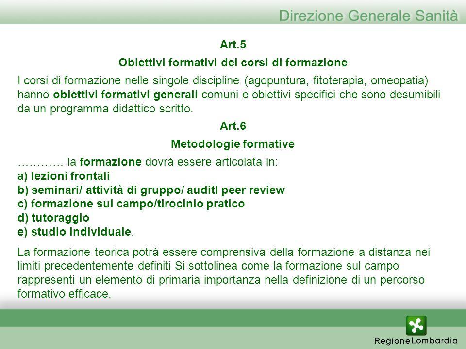 Art.5 Obiettivi formativi dei corsi di formazione I corsi di formazione nelle singole discipline (agopuntura, fitoterapia, omeopatia) hanno obiettivi