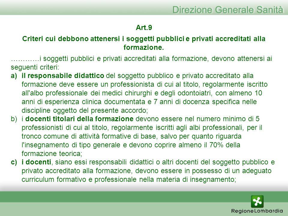 Art.9 Criteri cui debbono attenersi i soggetti pubblici e privati accreditati alla formazione. …………i soggetti pubblici e privati accreditati alla form