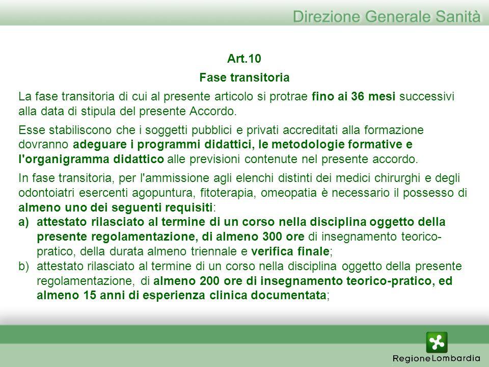 Art.10 Fase transitoria La fase transitoria di cui al presente articolo si protrae fino ai 36 mesi successivi alla data di stipula del presente Accord