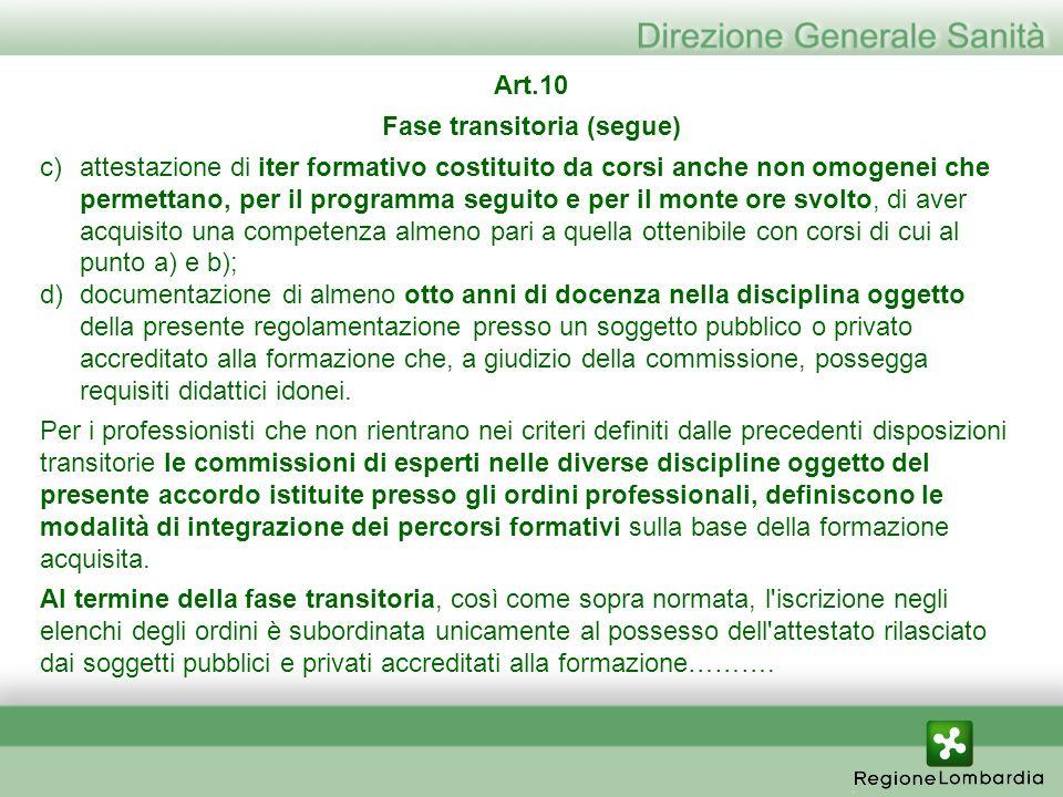 Art.10 Fase transitoria (segue) c)attestazione di iter formativo costituito da corsi anche non omogenei che permettano, per il programma seguito e per