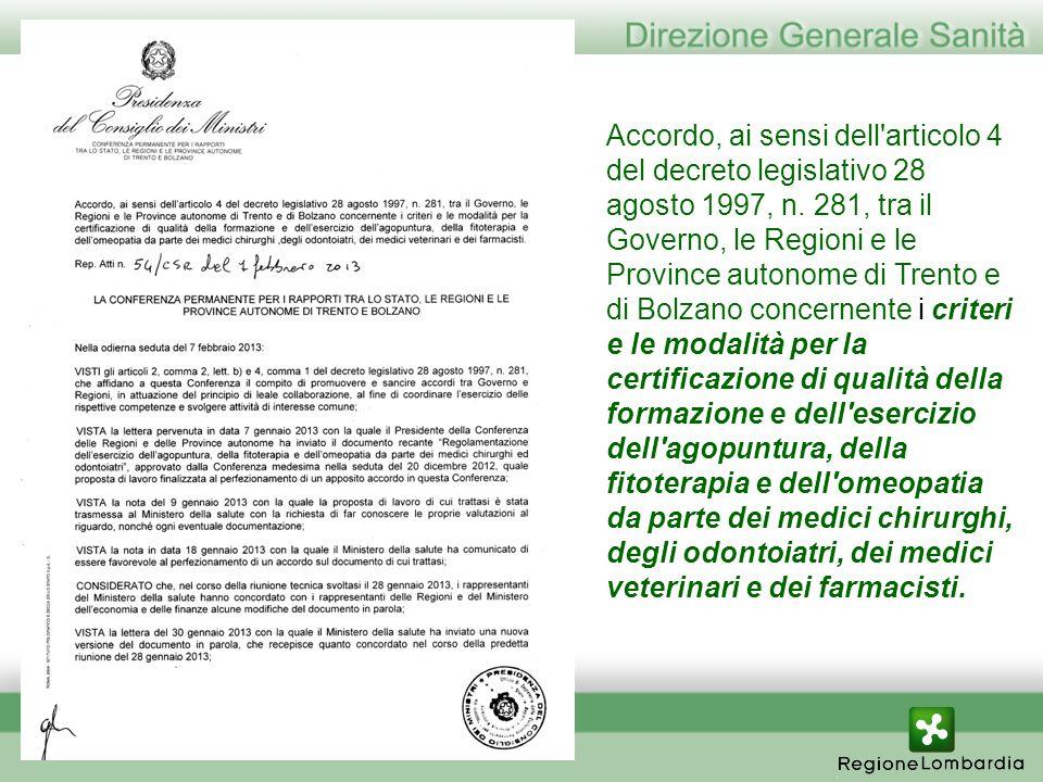 Accordo, ai sensi dell'articolo 4 del decreto legislativo 28 agosto 1997, n. 281, tra il Governo, le Regioni e le Province autonome di Trento e di Bol
