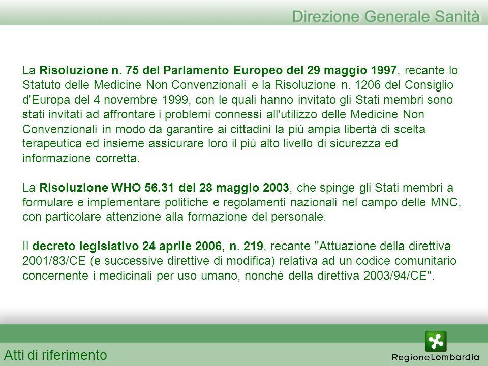 La Risoluzione n. 75 del Parlamento Europeo del 29 maggio 1997, recante lo Statuto delle Medicine Non Convenzionali e la Risoluzione n. 1206 del Consi