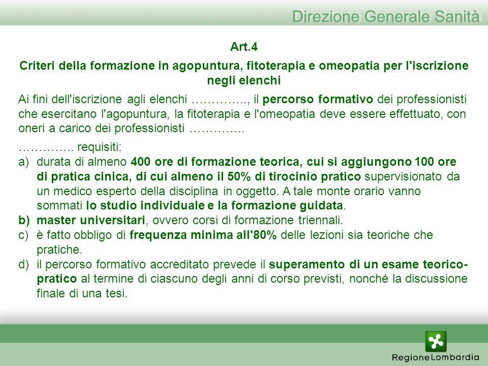 Art.4 Criteri della formazione in agopuntura, fitoterapia e omeopatia per l'iscrizione negli elenchi Ai fini dell'iscrizione agli elenchi ………….., il p