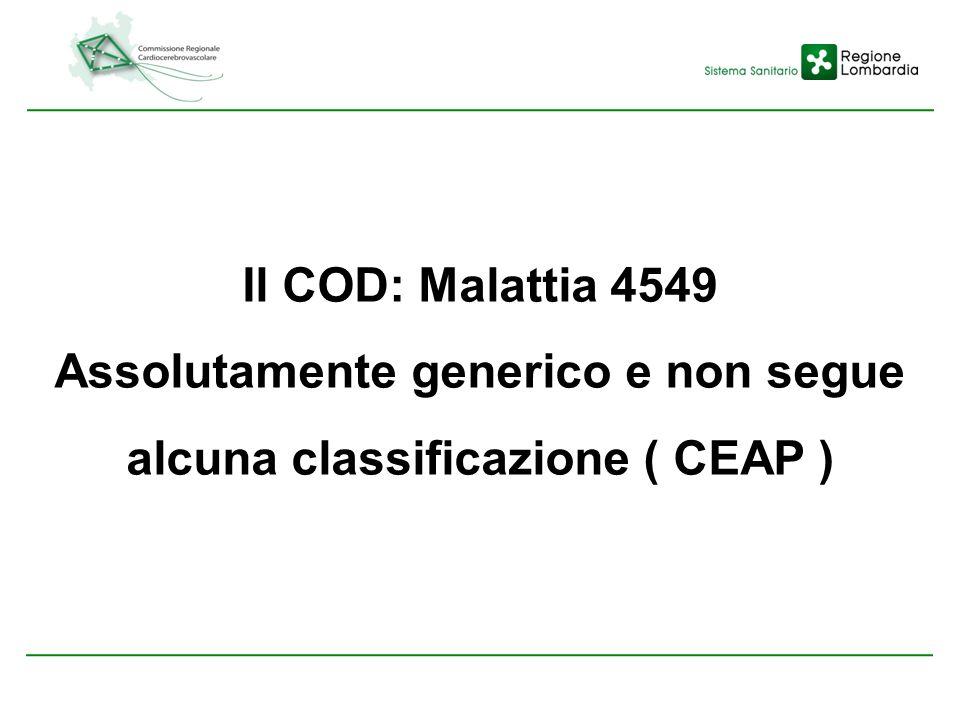 Il COD: Malattia 4549 Assolutamente generico e non segue alcuna classificazione ( CEAP )