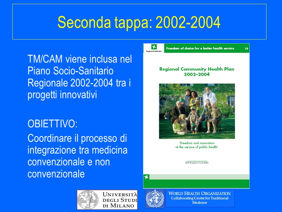 Seconda tappa: 2002-2004 TM/CAM viene inclusa nel Piano Socio-Sanitario Regionale 2002-2004 tra i progetti innovativi OBIETTIVO: Coordinare il processo di integrazione tra medicina convenzionale e non convenzionale W ORLD H EALTH O RGANIZATION Collaborating Centre for Traditional Medicine