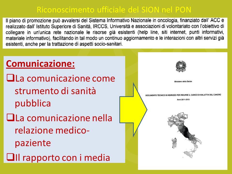 Comunicazione: La comunicazione come strumento di sanità pubblica La comunicazione nella relazione medico- paziente Il rapporto con i media Riconoscimento ufficiale del SION nel PON